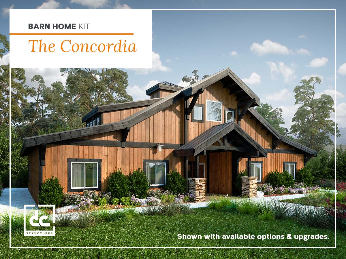 The Concordia Barn Home Kit - 3 Bedroom Barn Home Plan - DC ... on