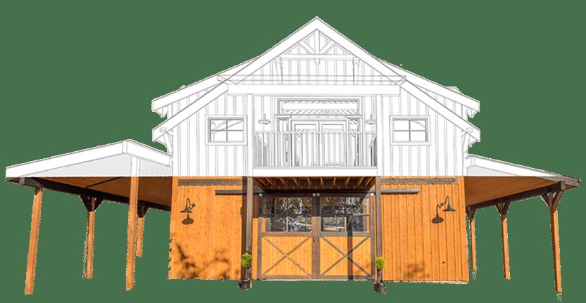Oakridge apartment barn kit wood barn home kit dc for Cost to build a pole barn house