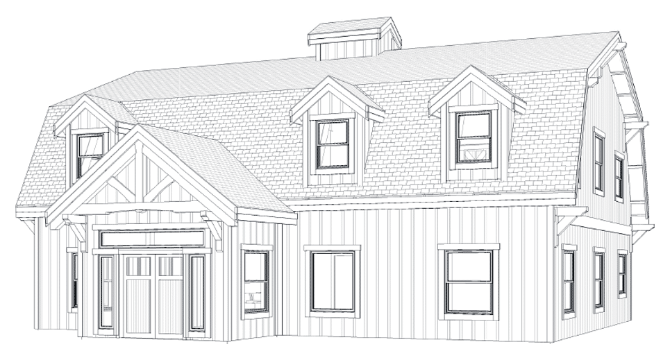 The Alberta Barn Home Kit - 3 Bedroom Gambrel Barn Home ...