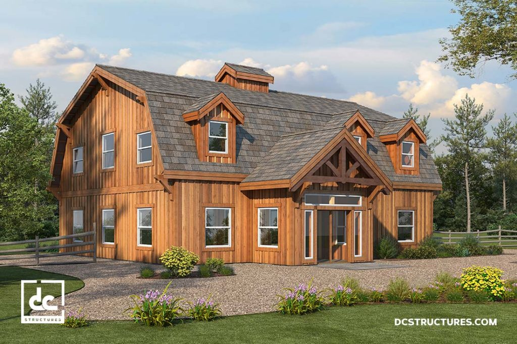The alberta barn home kit 3 bedroom gambrel barn home for Gambrel home kits